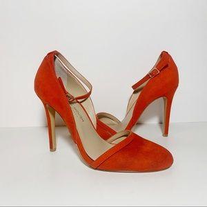 Julianne Hough Orange Suede Ankle Strap Pumps